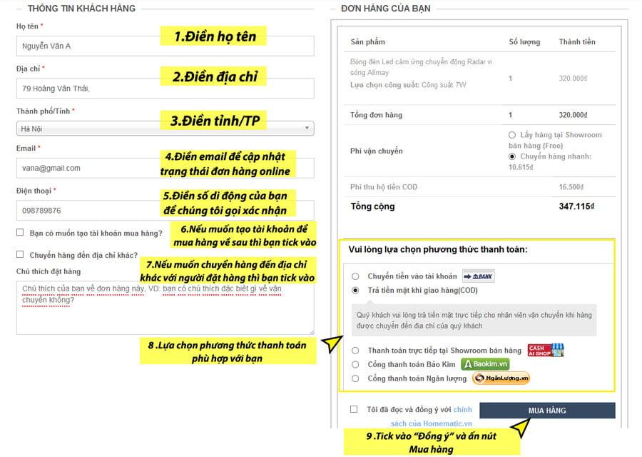 Điền thông tin và lựa chọn phương thức thanh toán phù hợp
