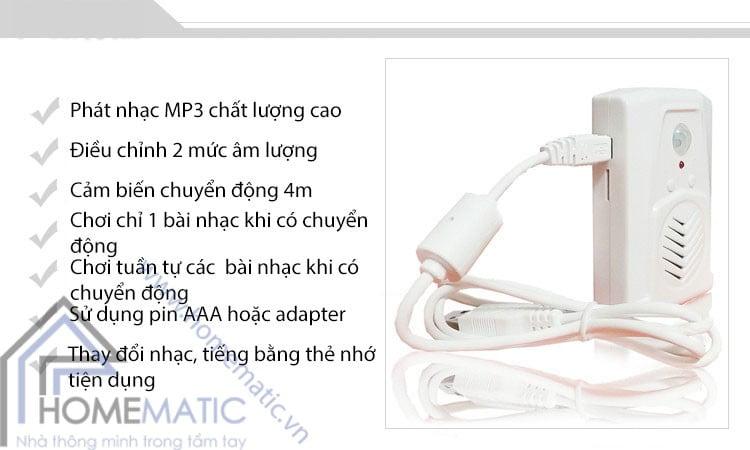 Báo khách cảm ứng chuyển động phát nhạc MP3 từ thẻ nhớ Darho