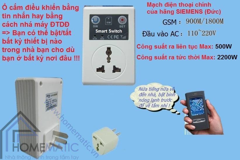 Ổ cắm điều khiển từ xa bằng sim điện thoại SC1-GSM