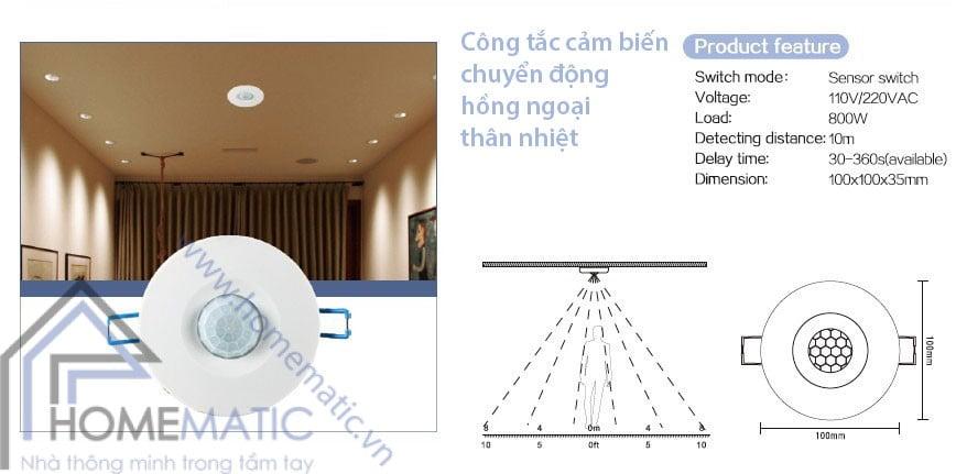 Công tắc cảm biến chuyển động hồng ngoại thân nhiệt TDL-9969J