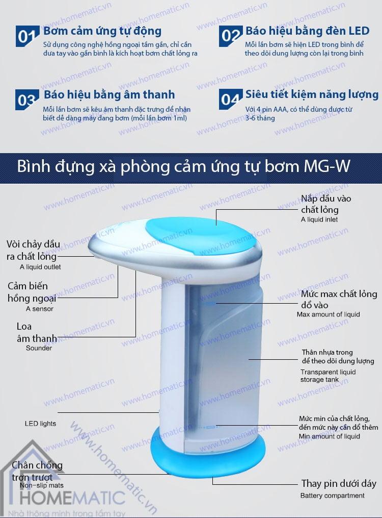 Bình đựng xà phòng cảm ứng tự bơm MG-W