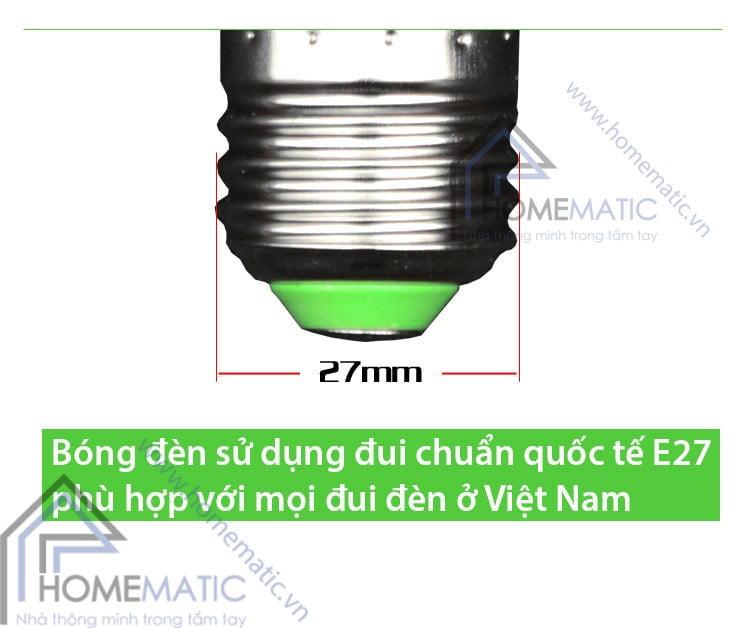 Bóng đèn LED sử dụng đui xoáy chuẩn quốc tế E27