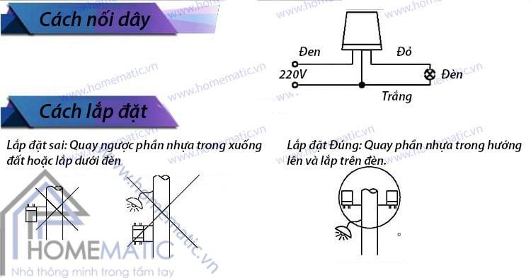 Công tắc cảm biến ánh sáng AS-10: Cách nối dây và lắp đặt