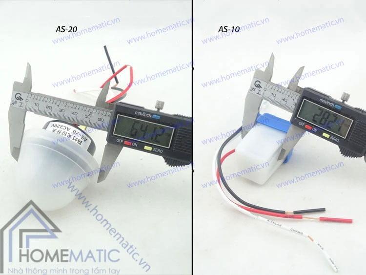So sánh kích thước của công tắc cảm ứng ánh sáng AS-20 với AS-10