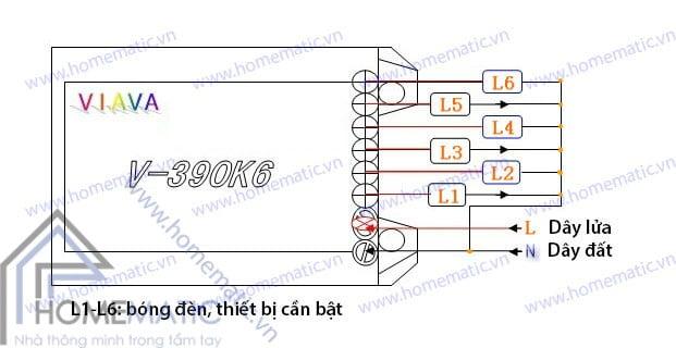Công tắc điều khiển từ xa 6 cổng VIAVA V-390K6- Cách nối dây