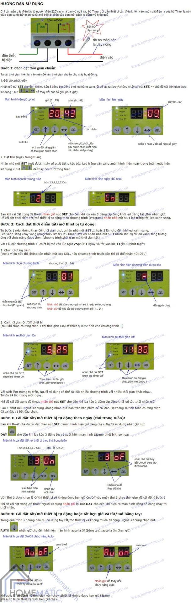 Công tắc hẹn giờ TPE TM3A hướng dẫn sử dụng