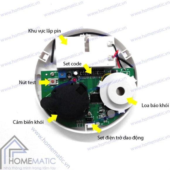 Báo khói không dây phát sóng RF 315Mhz ZC-S004