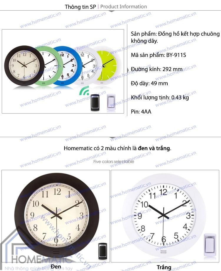 Chuông không dây kết hợp đồng hồ BY-911S