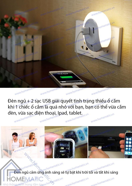 Đèn ngủ kiêm sạc USB