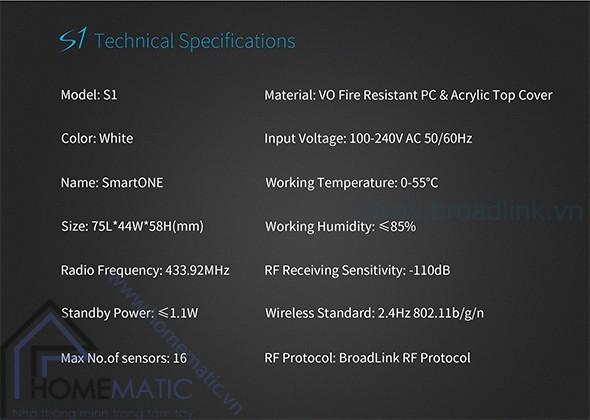 Thông số kỹ thuật của Trung tâm kiểm soát an ninh SmartOne S1