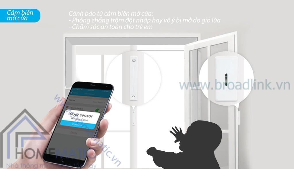 Trung tâm kiểm soát an ninh Broadlink Smartone S1 có thể báo cho bạn biết khi phát hiện cửa bị đóng hay mở