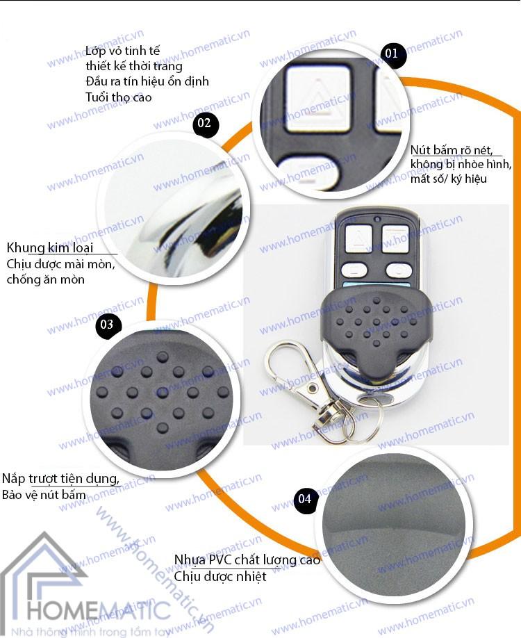 Remote điều khiển RF học lệnh nút kim loại