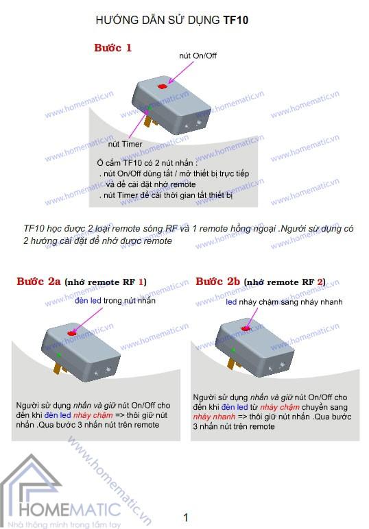 Hướng dẫn sử dụng Ổ cắm điều khiển từ xa hồng ngoại + RF TPE TF10