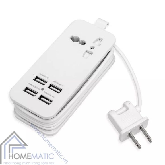 Ổ cắm sạc USB 4 cồng màu trắng