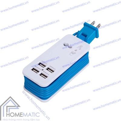 Ổ cắm sạc USB 4 cồng màu
