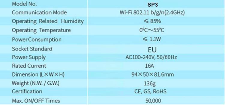Thông số Ổ cắm thông minh wifi Broadlink SP3