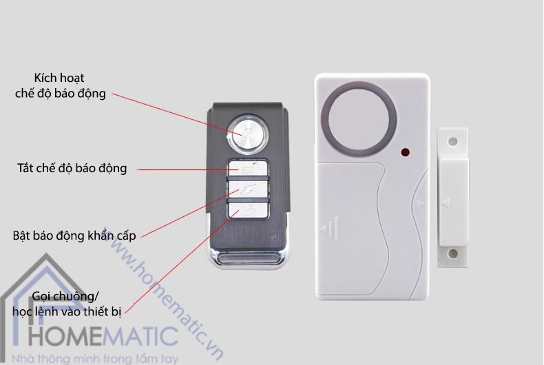 Báo động cửa mở cảm biến má từ có remote KS-SF03R