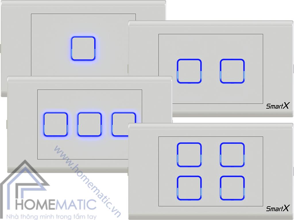 Công tắc điều khiển từ xa thông minh hỗ trợ 4 công tắc trên 1 mặt công tắc