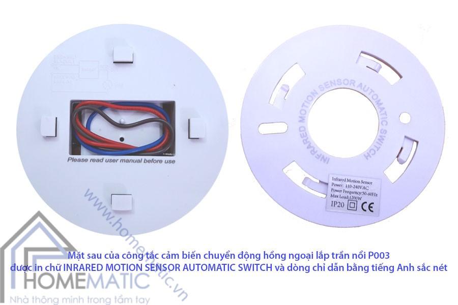Công tắc cảm biến hồng ngoại lắp trần nổi P003