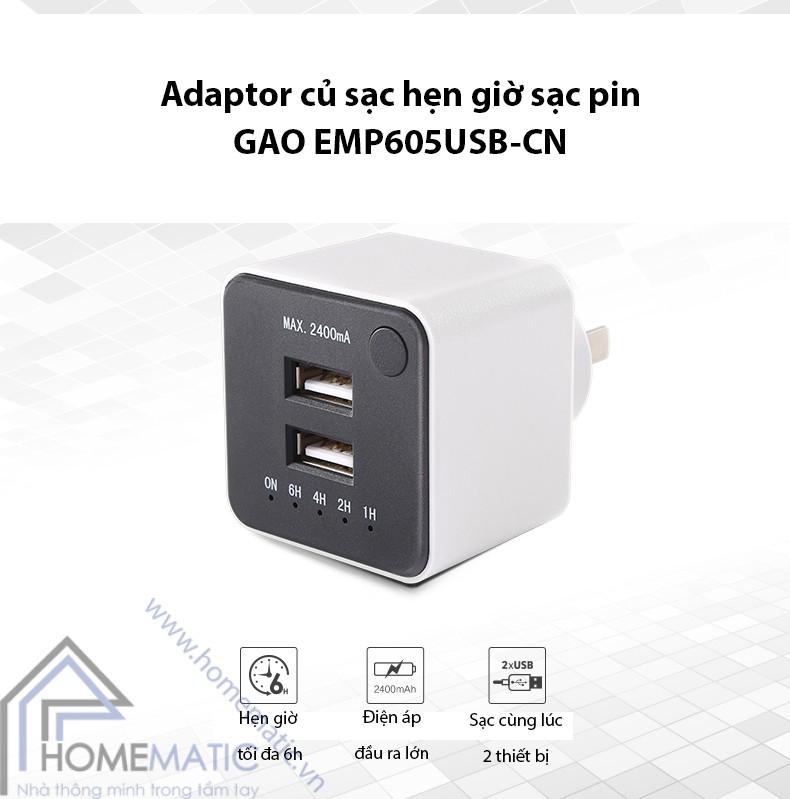 adapter củ sạc hẹn giờ sạc pin GAO