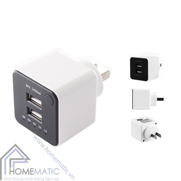 Adapter củ sạc hẹn giờ sạc pin GAO EMP605USB-CN