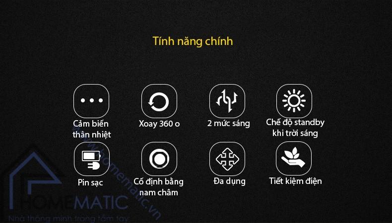 Đèn ngủ cảm biến tiết kiệm điện xoay 360 độ