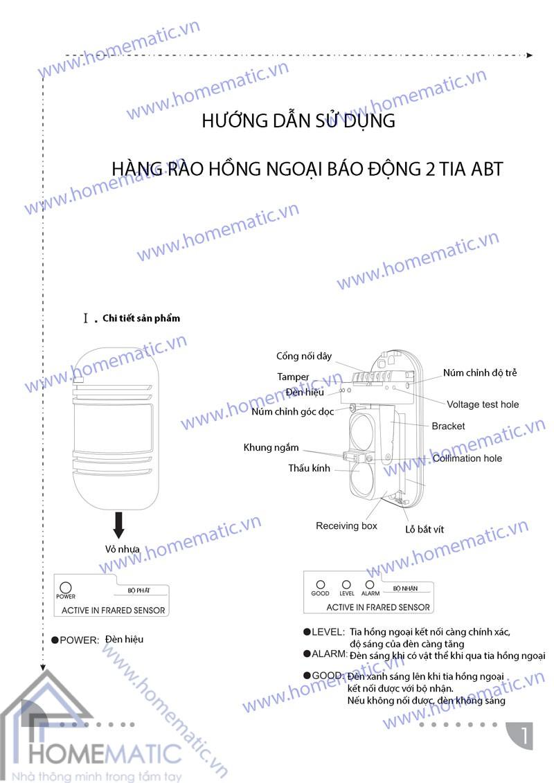 Hàng rào hồng ngoại báo động 2 tia 100m ABT-100V2