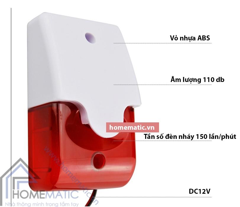 Loa báo động có dây, kiêm đèn báo hiệu điều chỉnh âm lượng JS-103