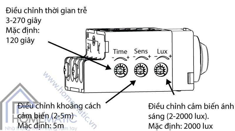 BT-2C-PIRV1 có thể điều chỉnh 3 thông số cảm biến