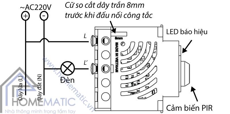 Công tắc cảm biến chuyển động hồng ngoại BATTO BTX-2PF-PIRV1 (hạt pana full) hướng dẫn nối dây