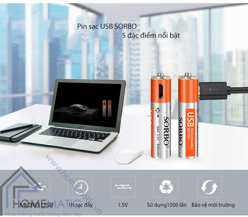 Pin sạc AAA micro usb SORBO SB2131-4