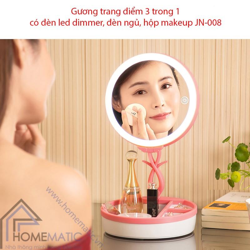 Gương trang điểm có đèn led dimmer, đèn ngủ, hộp makeup JN-008