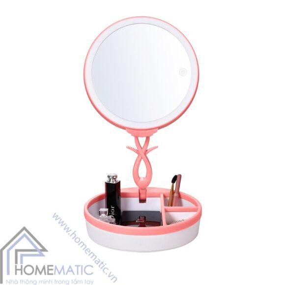 Gương trang điểm có đèn led dimmer, đèn ngủ, hộp makeup JN-008 hong