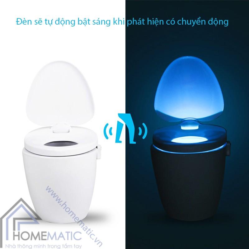 Đèn LED cảm ứng chuyển động, nhiều màu sắc phát sáng bồn cầu LB8 co che hoat dong