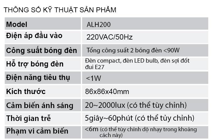 Thông số kỹ thuật ALH200