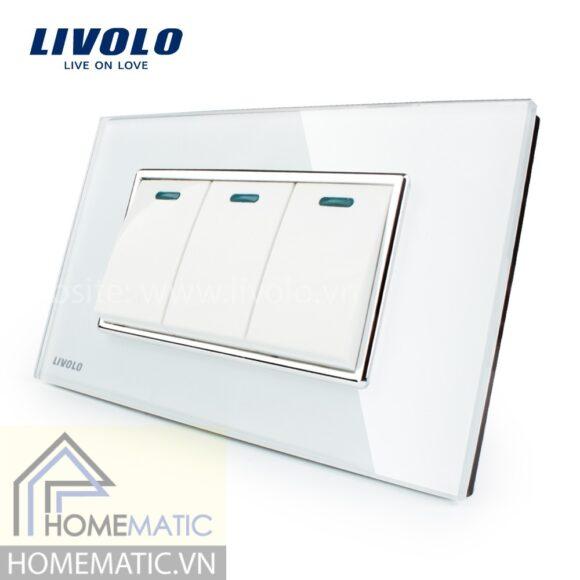 Công tắc Livolo 3 phím mặt kính cường lực trắng