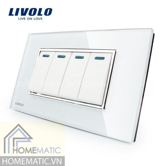Công tắc Livolo 4 phím mặt kính cường lực trắng