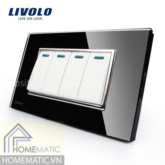 Công tắc Livolo 4 phím mặt kính cường lực đen