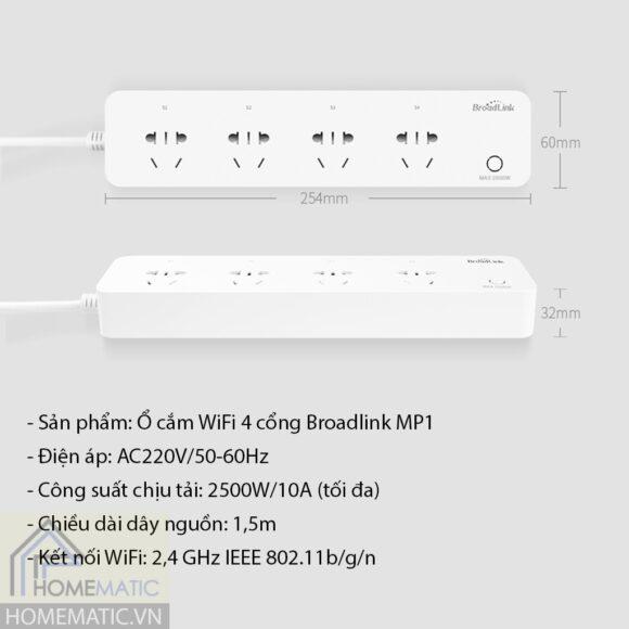 Ổ cắm wifi 4 cổng Broadlink MP1