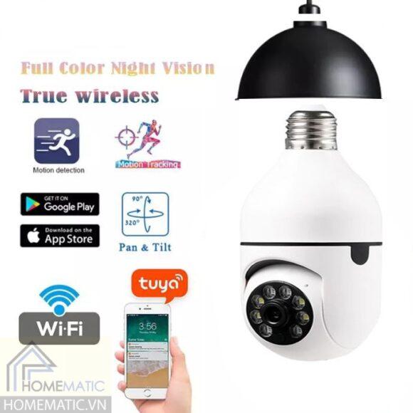 Camera Tuya 3MP quay và theo dõi chuyển động 360 dạng đui đèn YCH04