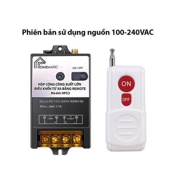 Bộ công tắc 30A điều khiển bằng remote tầm xa HPS3
