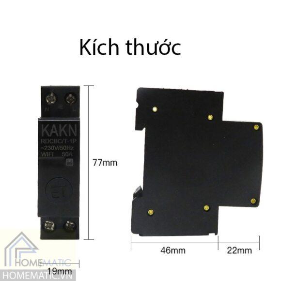 Công tắc công suất lớn 50A gắn tủ điện tuya KAKN50